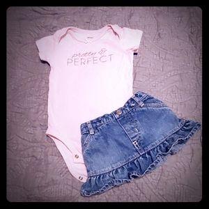 Denim skirt & pink onesie set